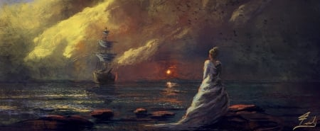 Sunset - art, fantasy, luminos, girl, ship, joseph feely, sunset, sea