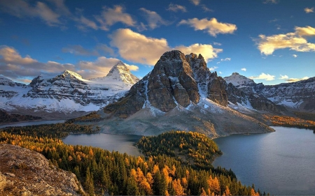 Mount Assiniboine And Sunburst Peak - lakes, autumn, colors, british columbia, sky, rocky mountains, trees, canada, clouds