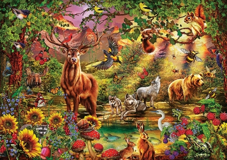 Enchanted Forest - animals, deer, squirrel, rabbit, birds, bear, butterflies, digital, blossoms, flowers, mushrooms, wolves