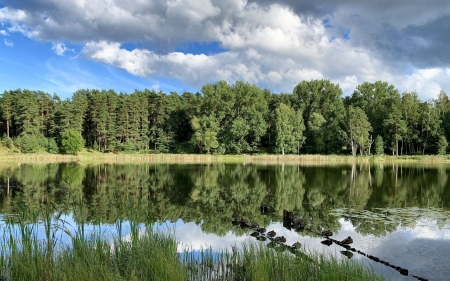 River in Latvia - Latvia, calm, river, clouds, reflection