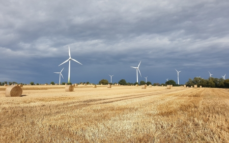 After Harvest - harvest, straw bales, wind turbines, field
