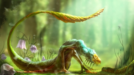 green dragon - flowers, tail, creature, log, sleeping