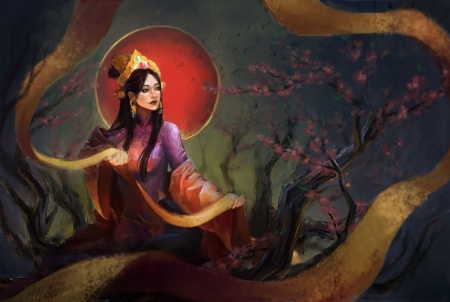 Spring goddess - chau nguy n th hoai, umbrella, spring, parasol, red, art, frumusete, luminos, goddess, fantasy, girl, asian