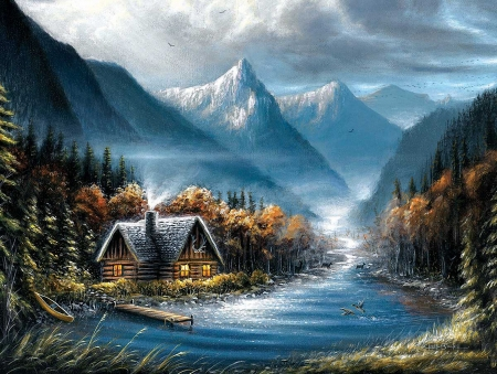 Lost Creek - boat, cottage, mountains, birds, river, trees, artwork, deer, painting