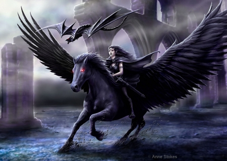 Ruined Castle - art, wings, pegasus, rider, digital