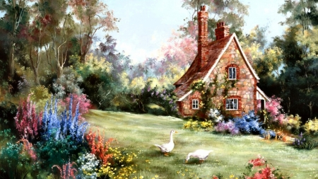 Cottage - tree, duck, cottage, house, chalet, painting