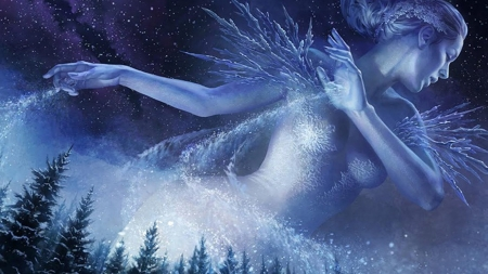 ice queen - woman, tree, snow, ice, queen, sky, star