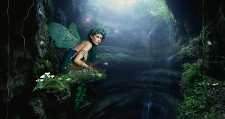 Fairy Place - place, water, wings, fairy, green