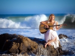 Country Woman Singing by the Sea