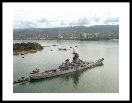 USS New Jersey Passing By The USS Arizona