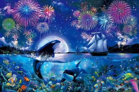 Evening fireworks over the sea - evening, sky, night, sea, fishes, dolphin, water, whale, ship, fireworks, summer