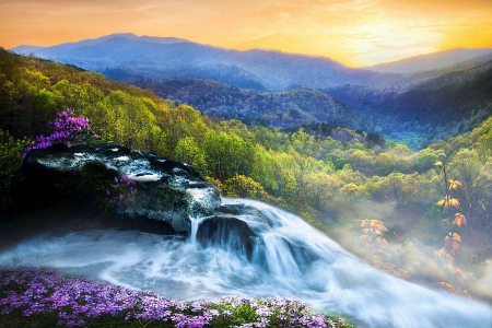 High Mountain Cascades - colors, river, sky, landscape, waterfall