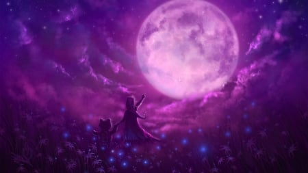 The Wonder of the Moon - girl, purple, pink, fantasy, moon, teddy bear