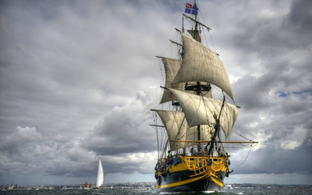 Tall Ship at Sea - water, boats, clouds, ship