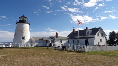 Pemaquid Point Lighthouse, Maine - clouds, sky, lighthouse, Maine