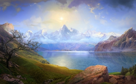 beautiful lake - snow, lake, mountains, rocks, sun, grass