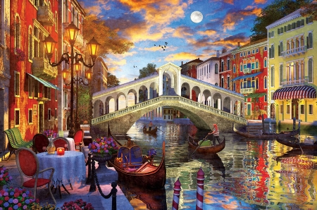 Venice - canal, bridge, restaurant, lantern, digital, gondola, artwork