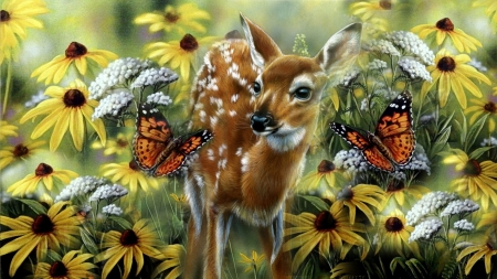 Summertime - flowers, paint, butterfly, deer