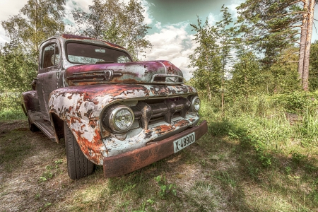 An Oldie but a Goodie - truck, rust, outdoors, ford