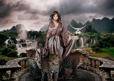Welcome to my World - heaven, leopard, dove, woman, waterfall