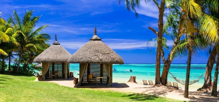 Exotic Mauritius - ocean, summer, palms, sea, rest, exotic, vacation, Mauritius, bungalow, sky, beach, paradise