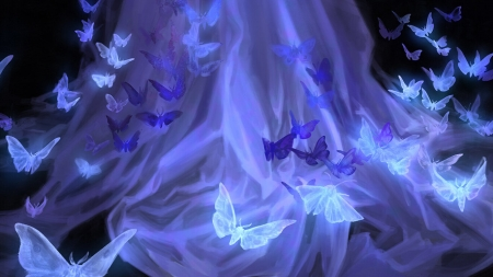 Butterflies - gorgeous, dress, frumusete, luminos, detail, grace zhu, superb, fantasy, fluture, butterfly, flower, blue