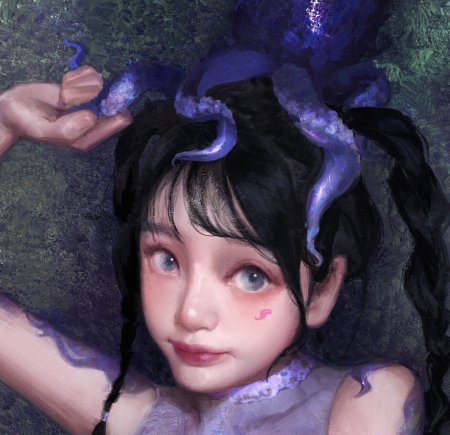Purple - art, frumusete, octopus, little, luminos, caracatita, superb, cute, fantasy, girl, purple, hei shan, face, gorgeous