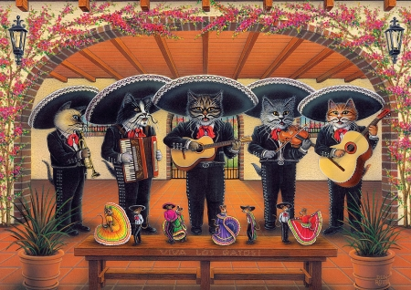 Flamenco meow team - cats, musicians, art, painting, flowers, instruments, funny