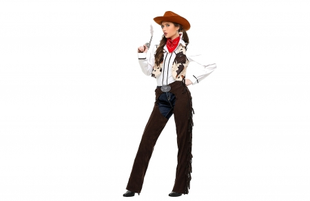 Sharp Shooter - pistol, hats, cowgirls, brunettes, boots, chaps