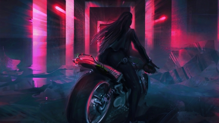 Girl on motorcycle - fantasy, fedos, girl, black, bike, silhouette, pink, motorcycle