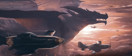Dangerous encounter - anna kulakovskaya, fantasy, airplane, luminos, sunset, dragon, silhouette, pink
