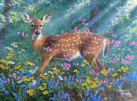 Bright Eyes - flowers, sunrays, artwork, deer, painting