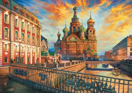 St. Petersburg - bridges, houses, buildings, sunset, clouds, sky, church, canal, artwork, painting