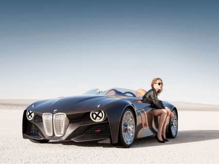 Stranded Woman and BMW - Car, Hub Cabs, Black Car, Grill, Woman, Black Outfit, BMW, Pretty, Pavement, Stranded, Convertible