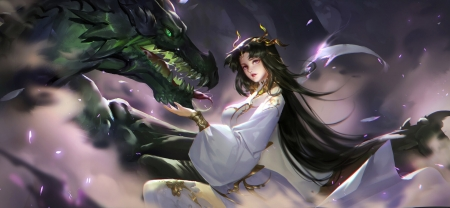The princess and the dragon - art, lightwing academy, fantasy, purple, luminos, girl, green, dragon
