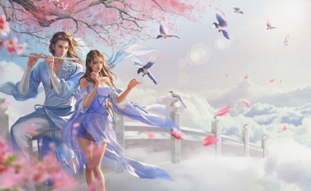 Spring melody - luminos, wind, man, spring, superb, swallow, jianyachi l, instrument, fantasy, bird, girl, pasari, flute, pink, couple, gorgeous