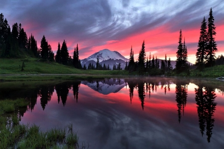 Upper Tipsoo Lake, Mount Rainier, Washington - colors, mountain, sky, reflections, trees