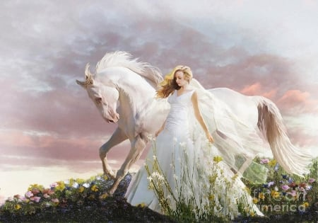 Lady in White - art, girl, painting, flowers, sky, horse, clouds