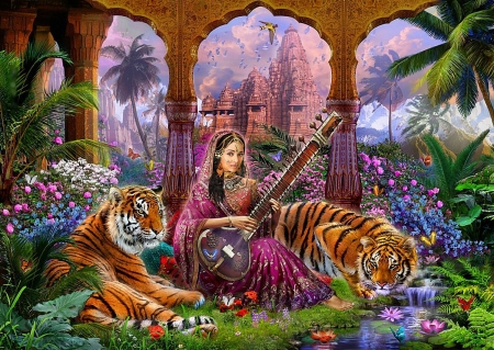India - girl, art, instrument, digital, tigers, temple, flowers