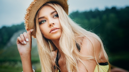 Polina Grents - Babe, Hat, Outdoors, Blonde