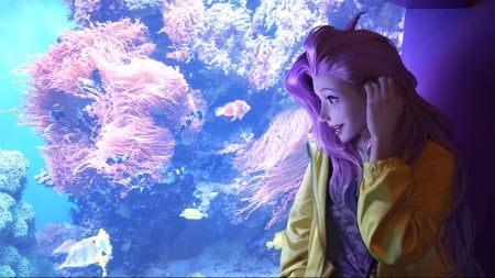 Lovely Girl - art, fantasy, woman, aquarium