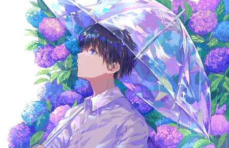♥ With Colorful Flowers ♥ - flowers, umbrella, pastel, anime, colorful
