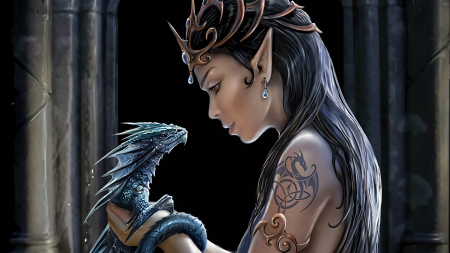 Mother dragon - art, fantasy, luminos, girl, tattoo, jewel, ironshod, dragon, earring