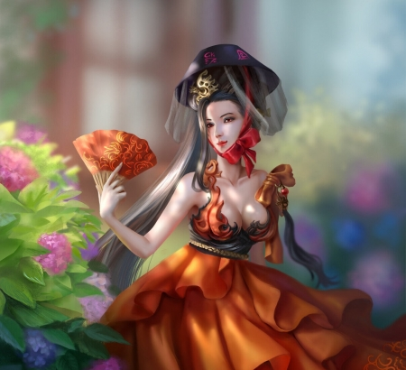 Yuran - luminos, evantai, orange, asian, elyn gontier, hand fan, pink, frumusete, fantasy, girl