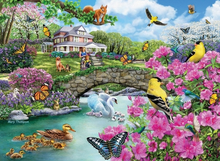 Crossing The Footbridge - cottage, people, birds, flowers, river, butterflies, artwork, dog, painting