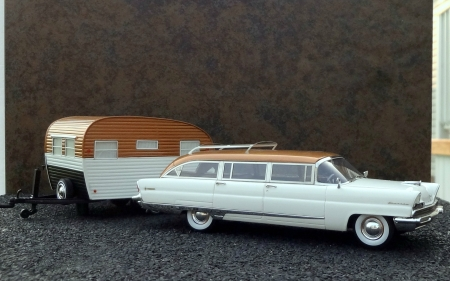 1956 Lincoln Pioneere Station Wagon with Travel Trailer - trailer, cars, lincoln, ford