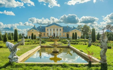 Bruknas Manor in Latvia - pool, manor, sculptures, fountain, garden, Latvia, clouds