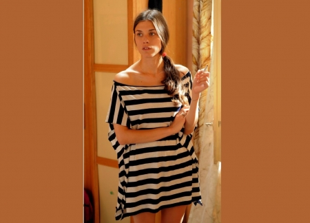 Ana Ularu - horizontal stripes, brunette, smallwristbracelet, doorway, pains of glass, cigarettte, black and white dress
