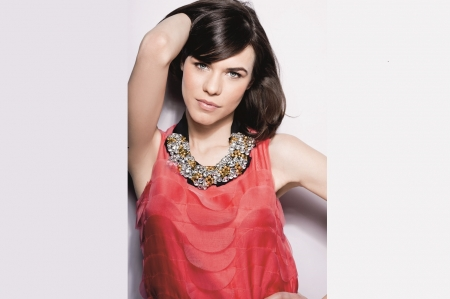 Ana Ularu - studded coloured stone neckline, Brunette, ruffled overlays, hot pink dress