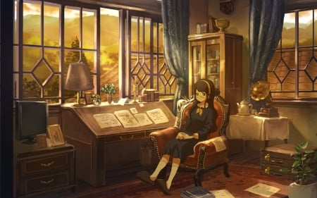 Girl by Window - armchair, room, window, girl, anime